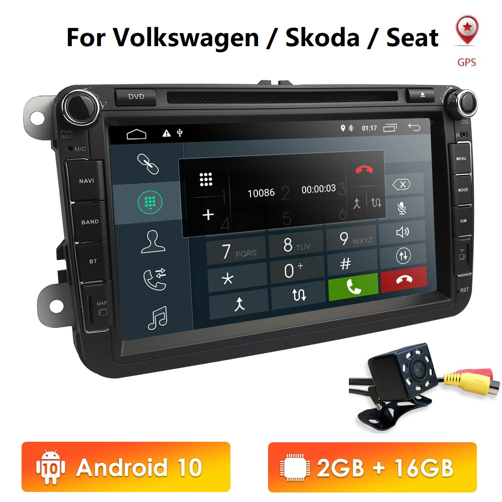 AutoRadio Android10.0 2 Din Car DVD Player Multimedia for V W Passat B6 ccT5 Skoda Octavia 2 Rapid <font><b>golf</b></font> <font><b>5</b></font> 6 polo Touran seat leo image