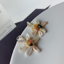Handmade Natural Freshwater Baroque Pear Flower Gold Stud Earring For Women Luxury Charms Jewellery Party Gift