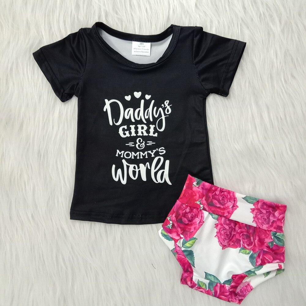 Nouveauté bébé fille mode tenue papa fille et maman monde lettres design chemise match bummies 2 pièces ensemble fille boutique