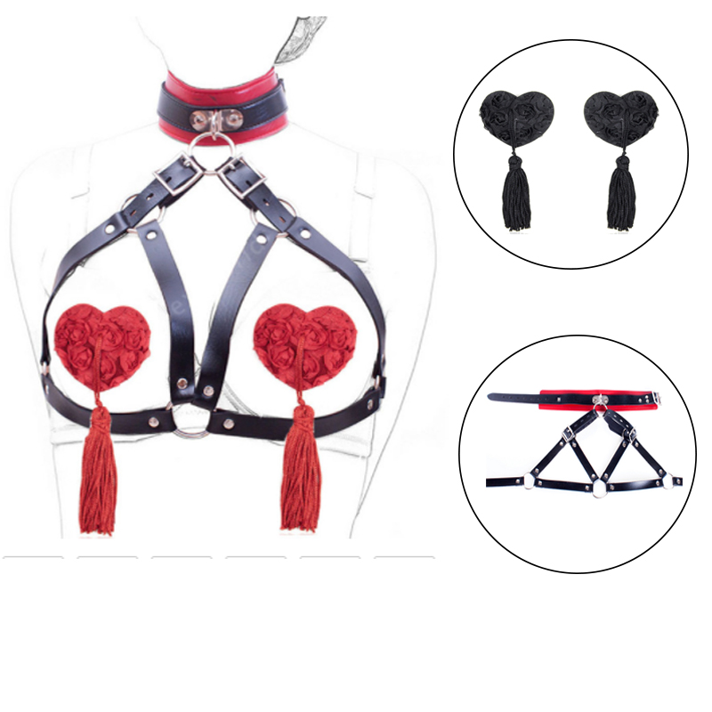 PU Leather BDSM Bondage Harness Open Breast Belt With Neck Collars Couples Flirting Sex Toys Sexy Nipple Cover Breast Bra