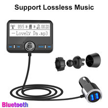 Konrisa AUX Bluetooth FM Transmitter Audio Lossless Musik Stereo Player Handsfree Mobil Kit Dual USB Charger Port Mendukung TF Card(China)