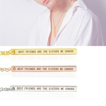 """lettering necklace Best Friends Jewelry Letters """"Best Are the Sisters We Choose"""" Square Vertical Bar Pendant"""