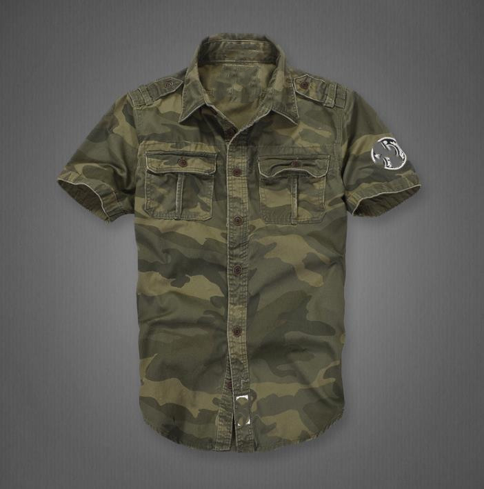 Camouflage Short Shirts Men Casual Military Shirt Short Sleeve Cargo Uniform Cotton Men's Tops Mens Clothing Plus Size XXL