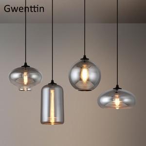Image 2 - מודרני עשן אפור זכוכית תליון אורות סלון נורדי Led Hanglamp לופט תעשייתי תליית מנורת בית תפאורה Luminaire E27