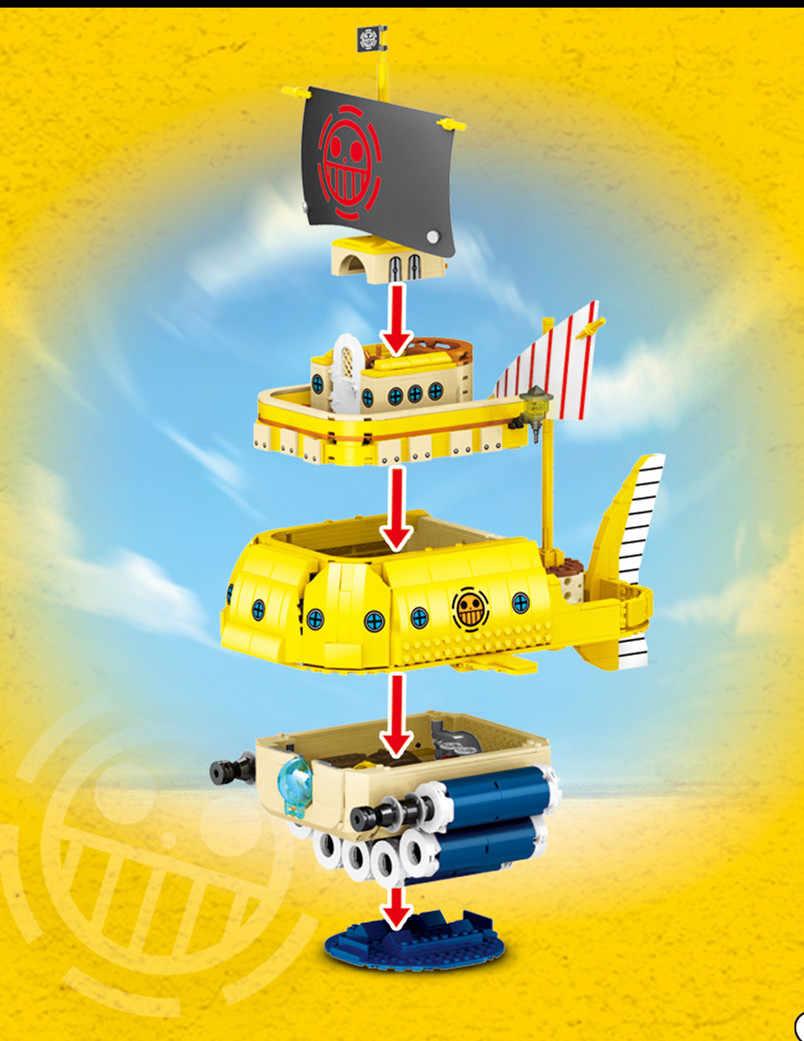 ONE PIECE Trafalgar-prawa łodzi podwodnej nurkowania statek piracki zestaw klocków budowlanych klocki klasyczny film Model dla dzieci zabawki dla dzieci prezent