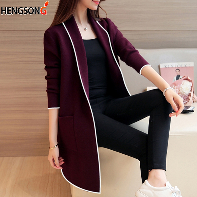 Cardigan Women Jacket Coat 2019 Female Elegant Pocket Long Sleeve Outerwear Knitwear Solid Color Turn Down Coller Long Sweater