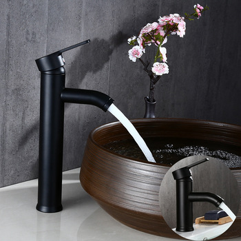 Stainless Steel Single Handle Bathroom Basin Faucets Cold/Hot Mixer Basin Sink Tap Black Bathroom  Faucet Bathroom Accessor