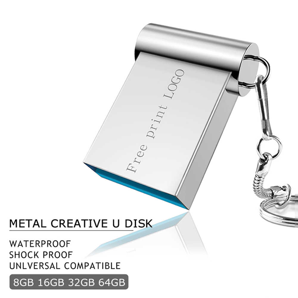 Mini pen drive 32GB pendrive metal usb flash drive 2.0 flash memory stick 16GB Key usb stick 128GB 64GB 8GB 4GB Free Print LOGO