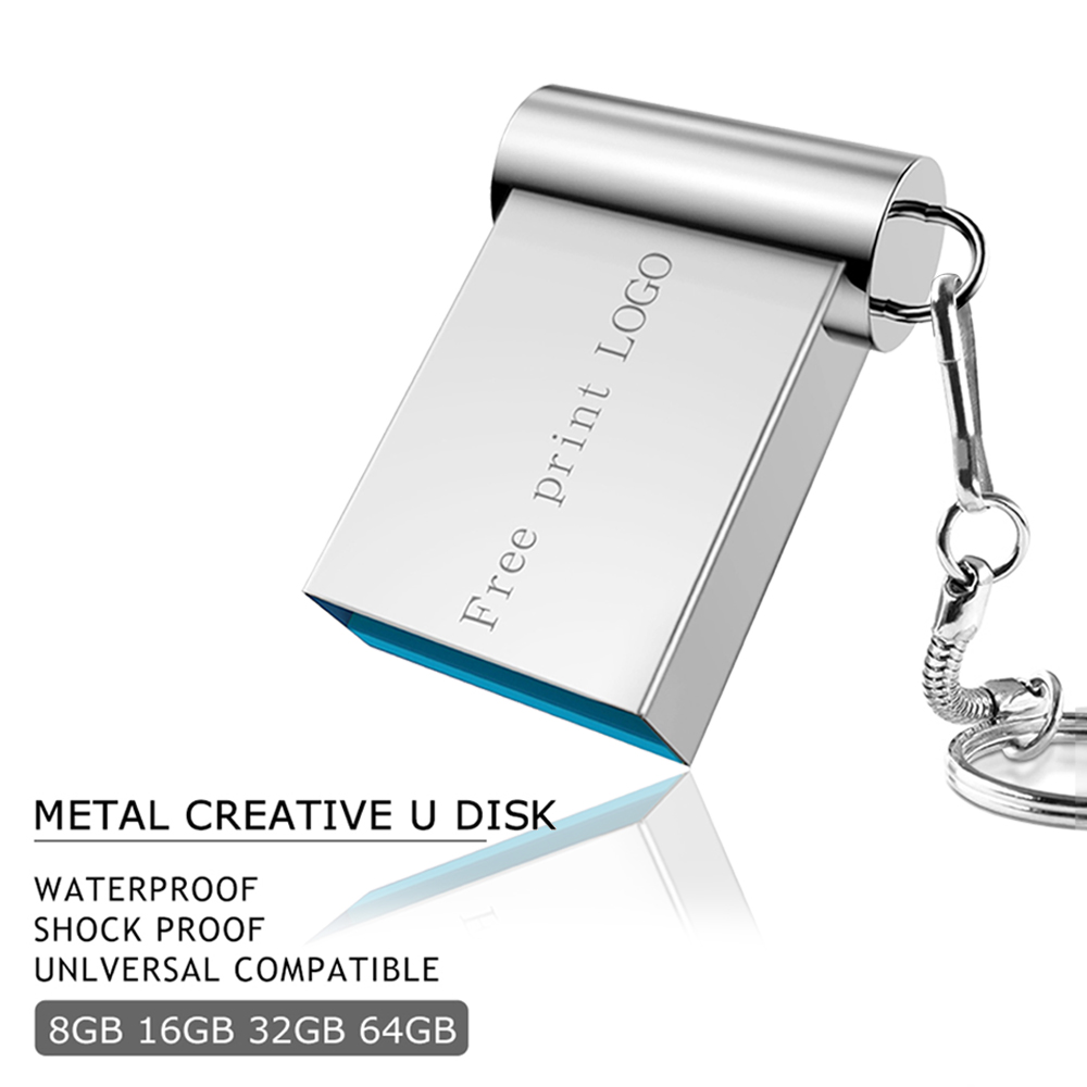 Mini pen drive 32GB usb-stick metall usb flash drive 2,0 flash memory stick 16GB Schlüssel usb stick 128GB 64GB 8GB 4GB Freies Drucken LOGO title=