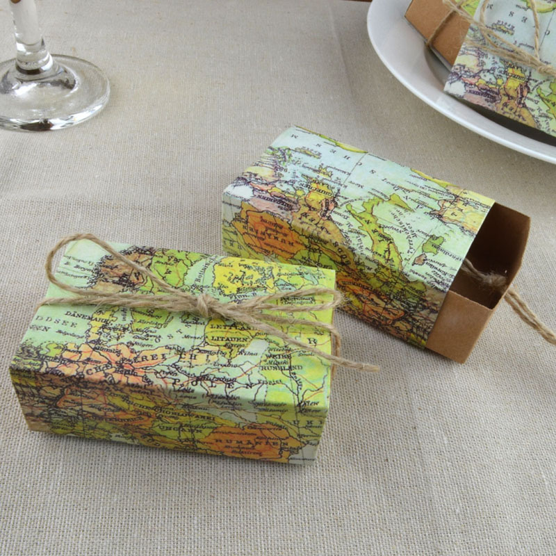 10pcs Wedding Favors Kraft Paper Candy Box World Map Drawer Gift Box with Hemp String Wedding Party Decoration image