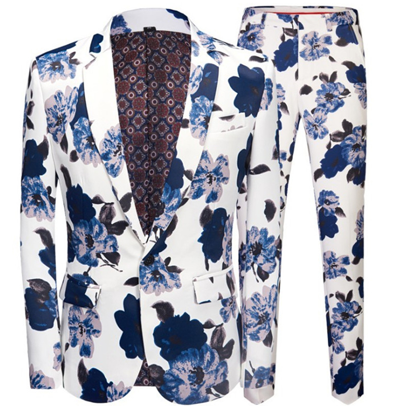 Christmas Fashion Men's Blue Flower Print Casual Suit Set (Jacket Pants) Prom One Button Lapel Banquet White Suit 2 Piece Set