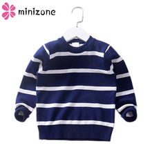 2019 New Children Sweatershirt Striped Kids Boys Sweaters Casual Girl Knitwear Cute Sweater for Girls Pullover 4-8T MM8