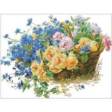 Roses and cornflowers patterns counted cross stitch 11ct 14ct