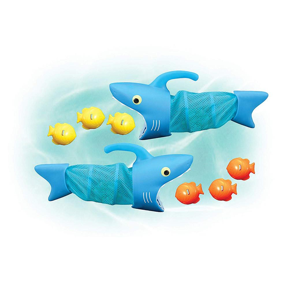 Soft Cartoon Shark + Small Fish Shape Water Playing Sound Bath Toy For Kids Baby