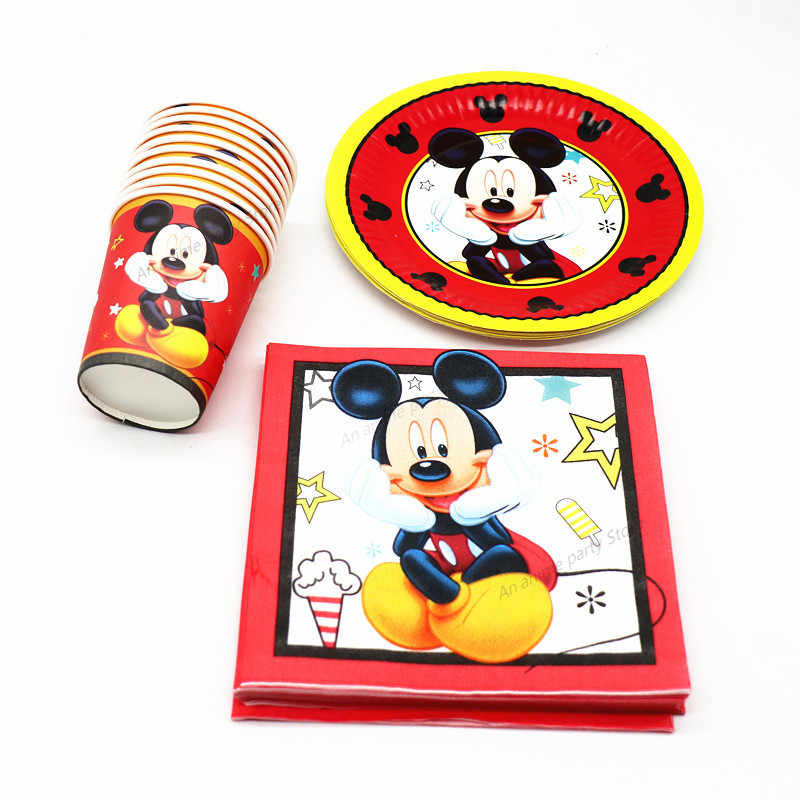 Disney Mickey Mouse Birthday Party Supplies Disposable Tableware Birthday Party Decorations Kids Paper Straws Paper Plates