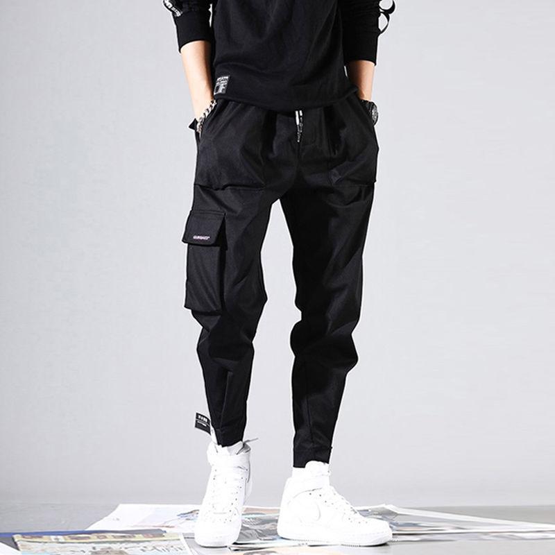 2019 Мужские штаны-шаровары с несколькими карманами и эластичной резинкой на талии, красные повседневные брюки для улицы в стиле панк
