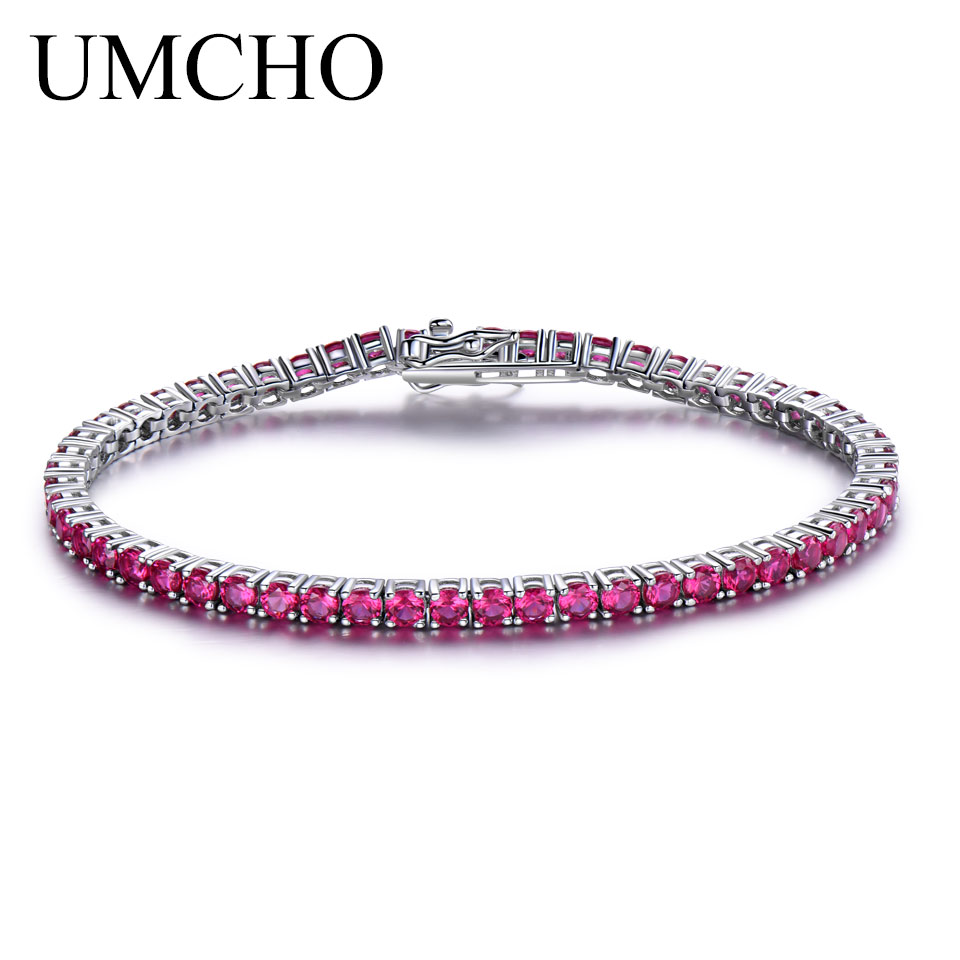 UMCHO Rich Color Created Ruby Bracelet For Women 925 Sterling Silver Jewelry January Birthstone Romantic Wedding Fine Jewelry