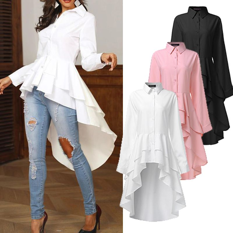 Womens Ruffle Tops 2020 ZANZEA Asymmetrical   Blouse   Elegant Casual Swallowtail   Shirts   Female Lapel Blusa Solid Tunic Plus Size