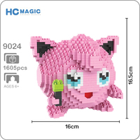 HC 9024 Jigglypuff Pink 3D Model 1605pcs DIY Micro Mini Diamond Building Small Blocks Bricks Assembly Toy no Box