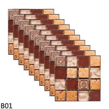 10pcs 10*10CM Mosaic Waterproof Wall Stickers Simulation Tiles Self Adhesive Wall Stickers DIY Home Bathroom Kitchen Decorations 11