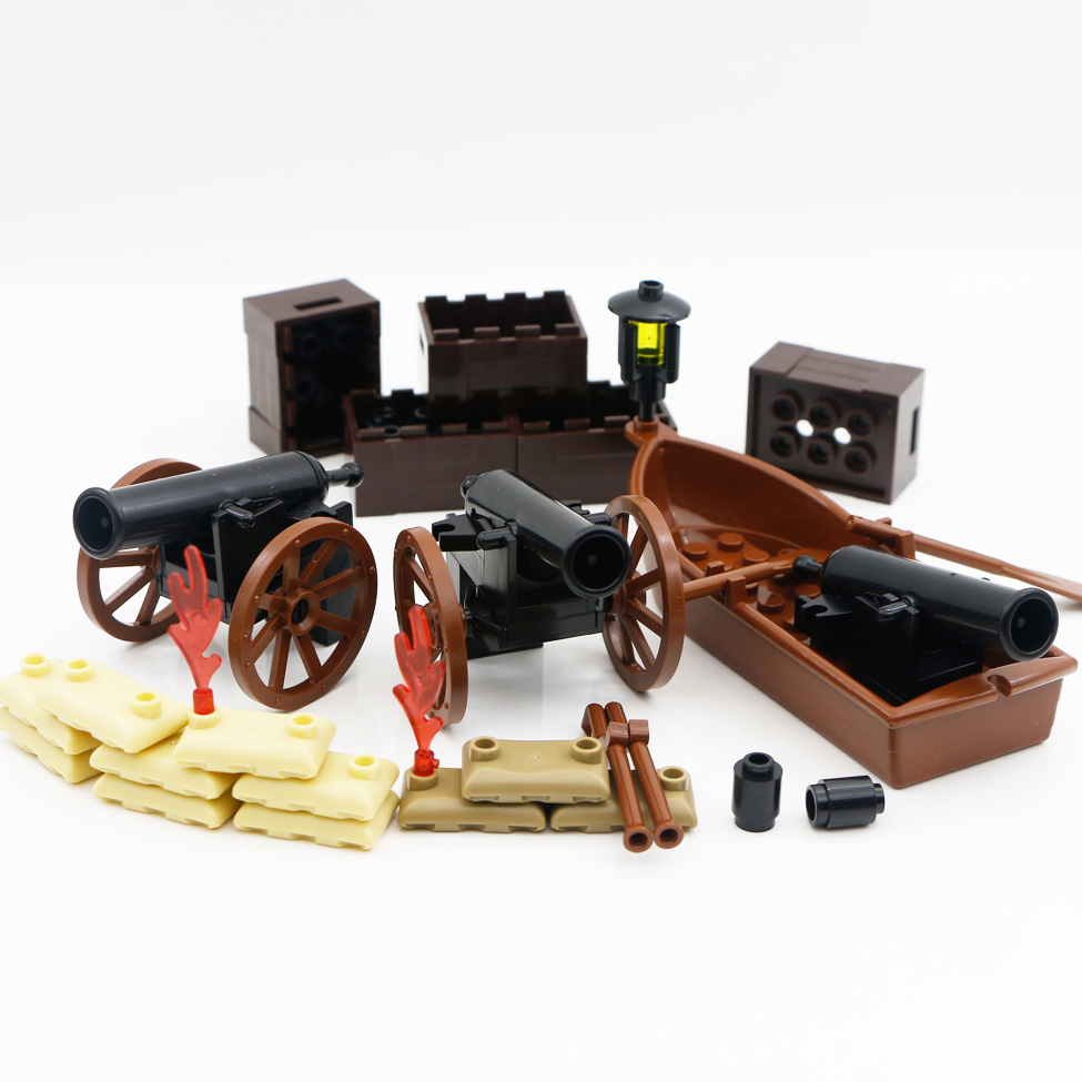ww2 Military Accessories Building Blocks Pirate Boat Cannon Ship Army Bricks <font><b>Medieval</b></font> <font><b>Castle</b></font> Soldier Figure Weapon equipment Toy image
