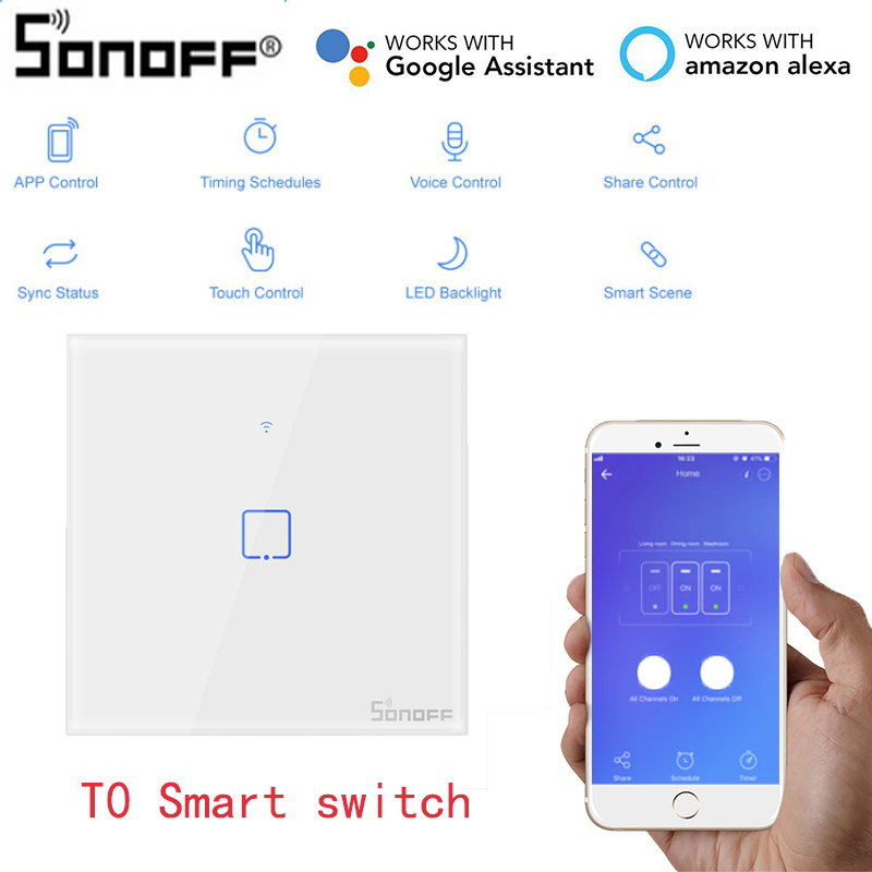 SONOFF Smart-Switches Alexa Google Home Wireless With TX 2/1-Gang For EU UK US US