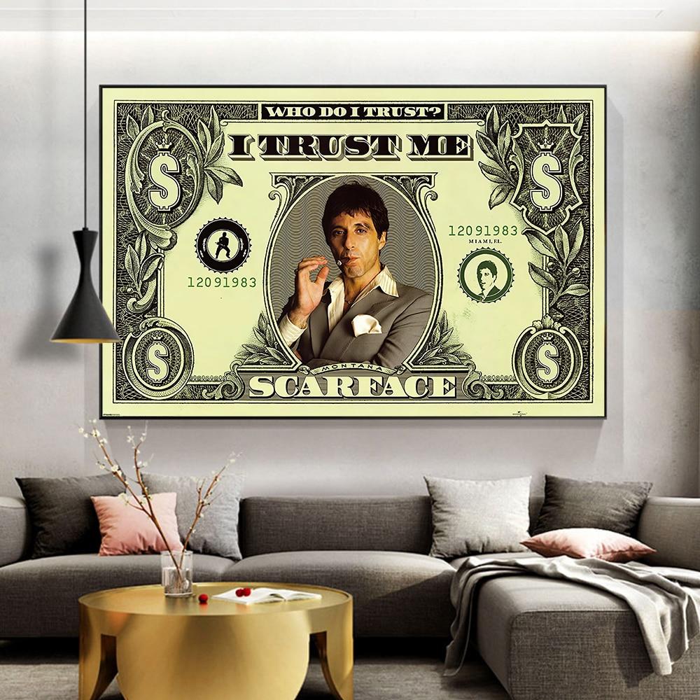 Moderne Dollar inspirant toile Art affiches et impressions argent toile peintures sur le mur Art photo pour salon décor