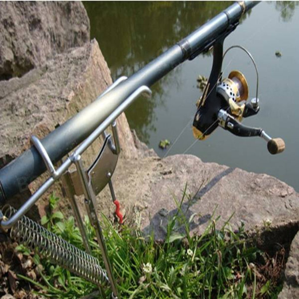 Ajustável automático suporte de pesca dupla mola