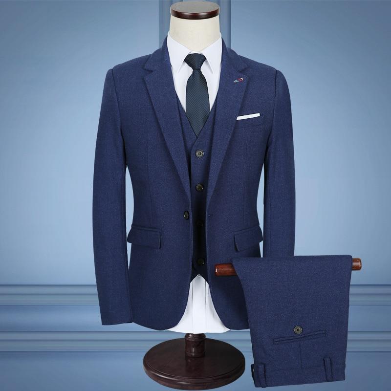 Plus-sized Menswear Business Slim Fit Set Suit MEN'S Business Suit Three-piece Set-Wear Marriage Groom Formal Dress