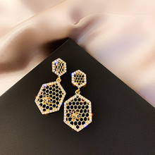 FYUAN Vintage Honeycomb Drop Earrings for Women Bijoux Bee Crystal Dangle Statement Jewelry Gifts