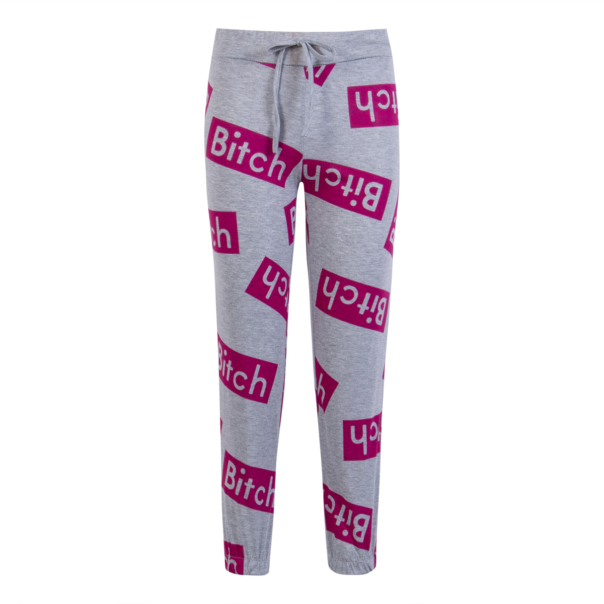 Goocheer Fashion Women Stretch Waist Jogger Workout Leggings Loose Casual Bitch Letter Print Harem Pants FitnessTrousers