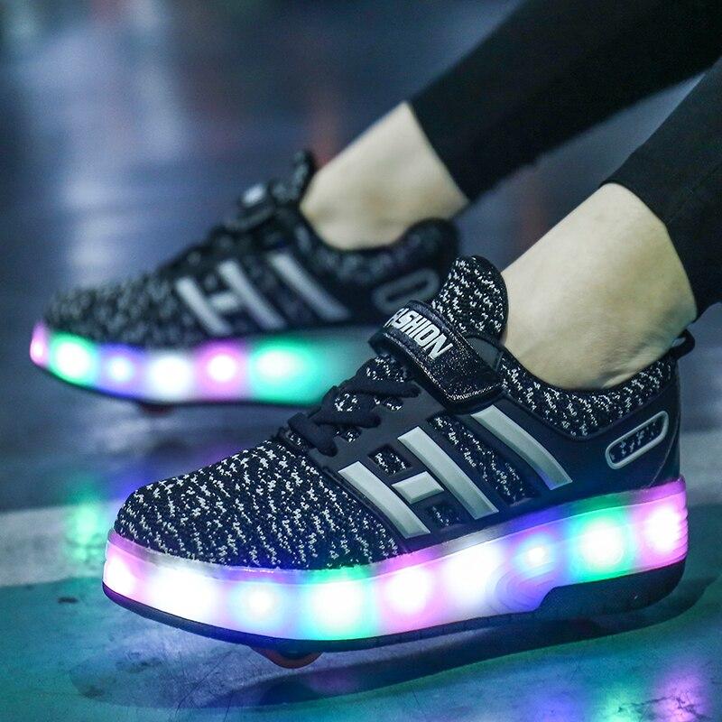 Детская обувь для скейтбординга Heelys ролики с подсветкой скейт обувь Дети patines de 4 ruedas patins мальчик девочка роликовые коньки светящиеся туфли со светодиодами кроссовки