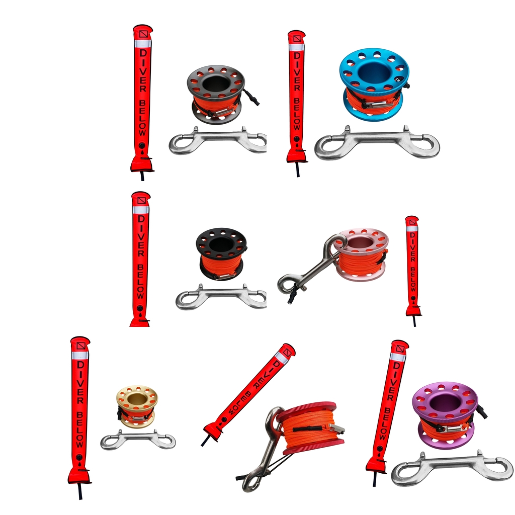 Scuba Diving SMB Surface Marker Buoy Signal Tube With Dive Reel Spool Safety Gear Equipment - Various Colors