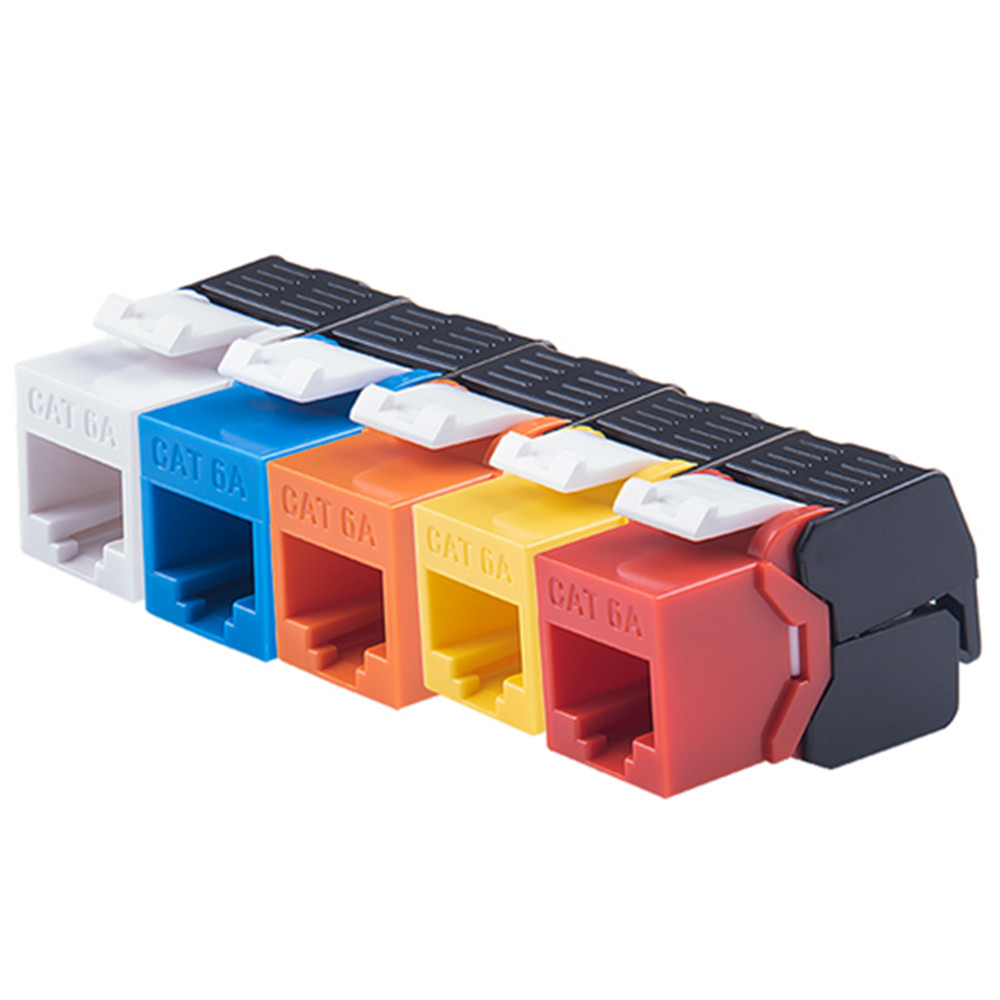 10PCS CAT6A RJ45 Modules 10G Ethernet RJ45 Connector Adapter Network Crimping Network Toolless Type Colorful Keystone Jacks