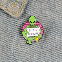 Begging Alien Cartoon Lapel Pins Brooch Metal Badge Vintage Classics Fashion Retro Jewelry Gifts Collection(China)