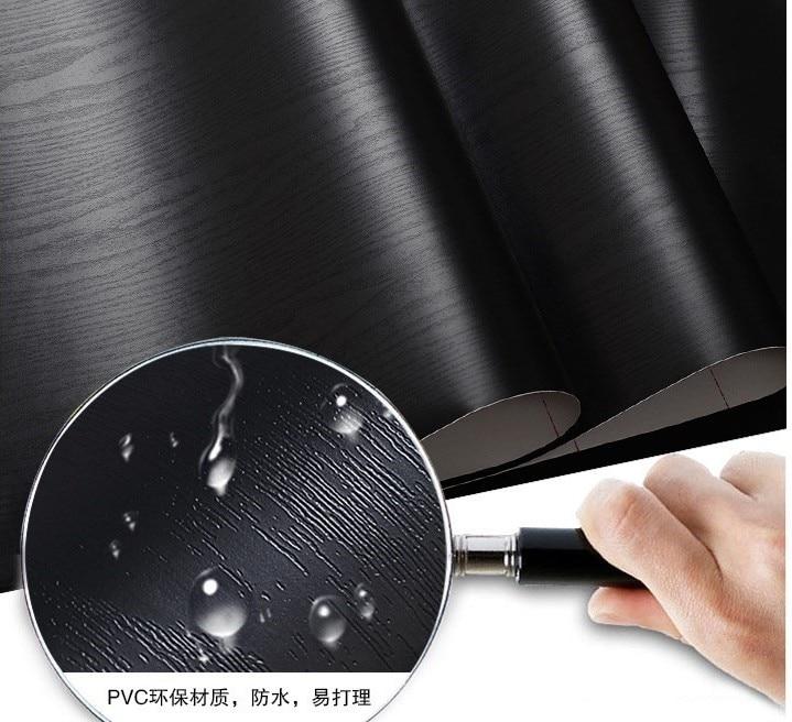 black wood matt furniture stickers  boeing film pvc adhesive paper back vinyl wallpaper cabinet furniture wood fiber wallpaper