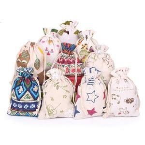 Image 2 - 10 ピース/ロット 10x1 2/10 × 14 センチメートルランダムミックスデザインコットン巾着袋アロマポーチベルベットのポーチバッグナチュラル麻布ヴィンテージバッグ