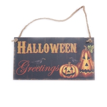 Halloween Greetings Pumpkin Hanging Wall Sign Decoration Rectangle Wood Hangtag Party Decor Board