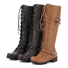 Women Boots Lace Up Zipper Square Heel Shoes Knee High Boots Autumn Winter Punk Botas Mujer Plus Size 34-43 boots women zipper knee high boots square heel shoes femme buckle punk witer botas mujer plus size shoes 35 43
