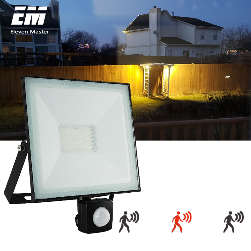 LED Flood Light Sensor 30W 50W Outdoor Lighting Garden Lamp 100W PIR With Motion Detective Sensor Reflector Spotlight ZFG0007