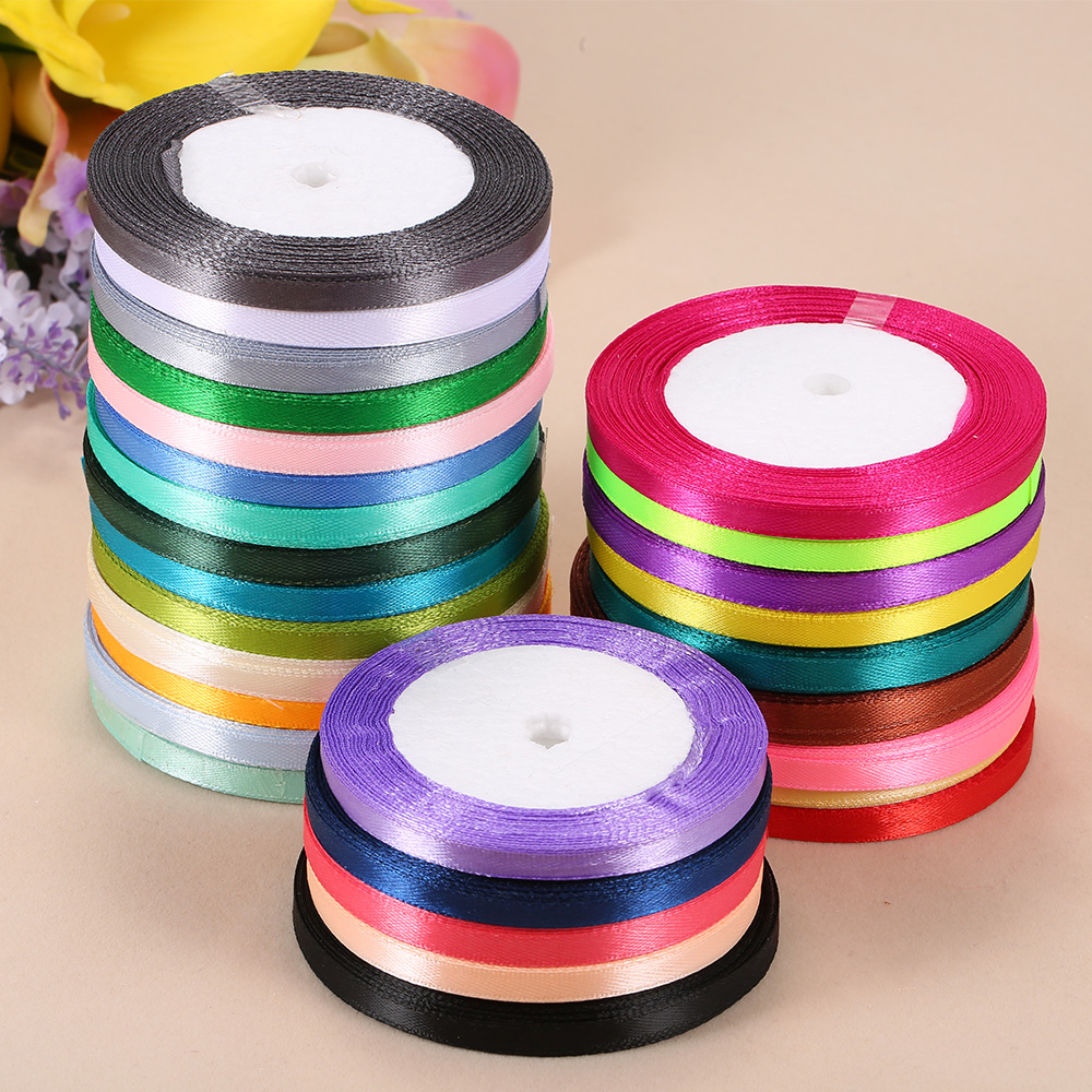 Decorations Colorful 1 Roll 25 Yards Wedding Craft Sewing 6mm Satin Ribbon