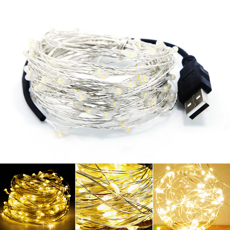ChicSoleil USB LED String Light Waterproof LED Copper Wire String Holiday Outdoor Lights Christmas Party Decoration