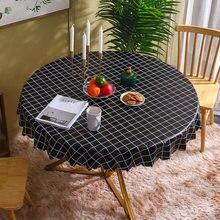 Pano de piquenique plástico descartável nórdico da toalha de mesa do pvc do teste padrão médio da grade impermeável, à prova de óleo e à prova de queimadura