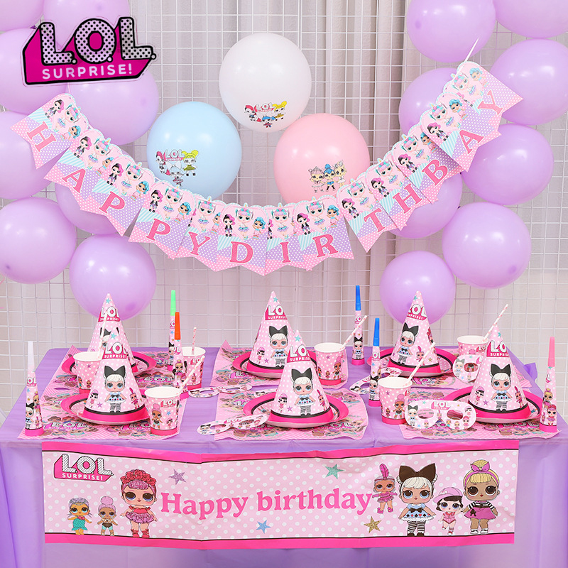 Original LOL Surprise Dolls Birthday Party Theme Decoration Supplies Holiday Cup Plate Spoon Cake Stand Activity Event Kids Gift