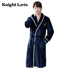 Bornoz erkekler Kimono sonbahar kış fanila gecelik uzun elbise erkek kalınlaşmak sıcak pijama erkek gevşek ev kıyafeti artı boyutu 3XL
