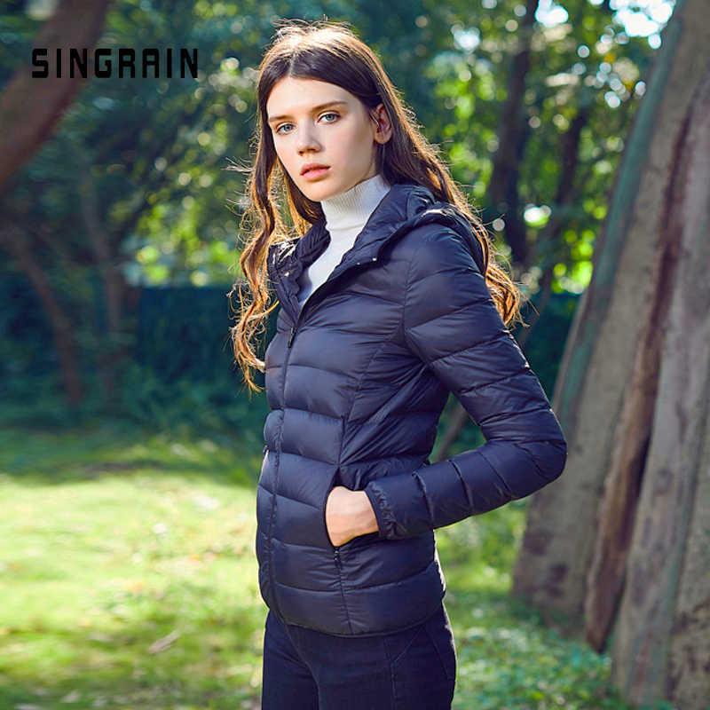 SINGRAIN Frauen Unten Jacke Mit Kapuze 95% Ente Warme Mantel Feste Tragbaren Oberbekleidung Große Größe Ultra Licht Unten Mantel Winter
