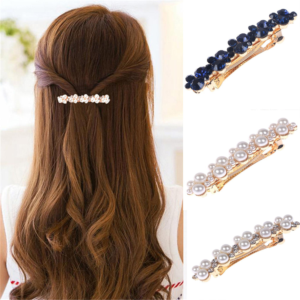 Hot Sale 5 Colors Korean Crystal Elegant Crystal Pearl Hair Clip Women Barrettes Hairgrips Hair Accessories Styling Tools