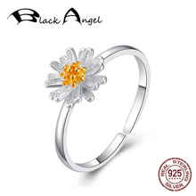 Hot Sale Genuine 925 Sterling Silver Daisies Open Rings for Women Adjustable CZ Wedding Fine Jewelry wholesale sale genuine 925 sterling silver feather necklace fine jewelry crystals from swarovski 925 jewelry beads