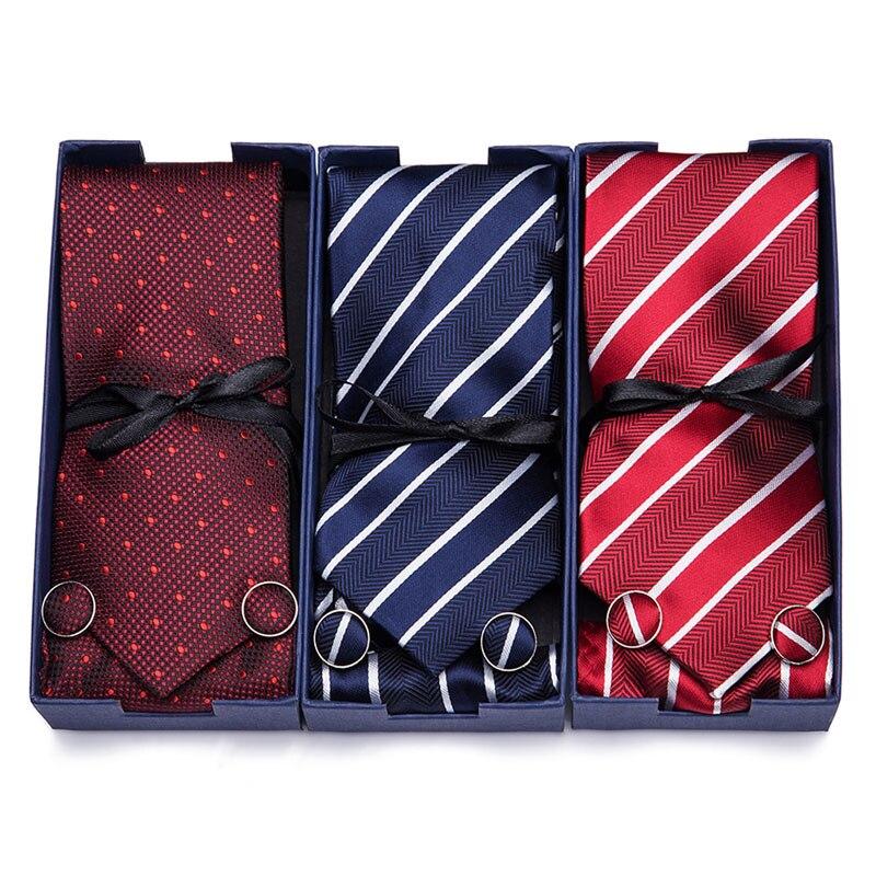 Wedding 100% Silk Tie Blue Stripe Man's Handkerchief Cuffink  Neckties Set Formal Dresss Accessories Gift Box Men Classic Tie
