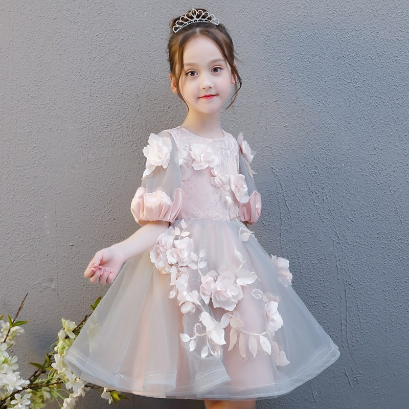 Girls Wedding Dress Puffy Yarn Little Girl Children Birthday Evening Gown Princess Dress Flower Boys/Flower Girls Piano Costume